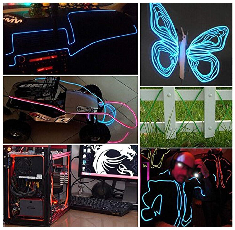 Amicc 5m 15ft amicc n/éons el fil portatif batterie n/éon brille en alternance /électroluminescents wire pour les parties Blue d/écoration dhalloween