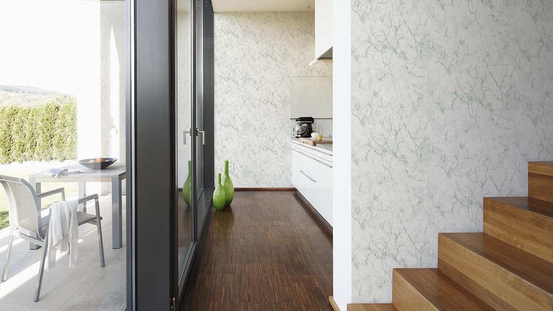 Livingwalls Vliestapete Neue Bude 2.0 Tapete in edler Marmor Optik 10,05 m x 0,53 m grau wei/ß Made in Germany 361573 36157-3