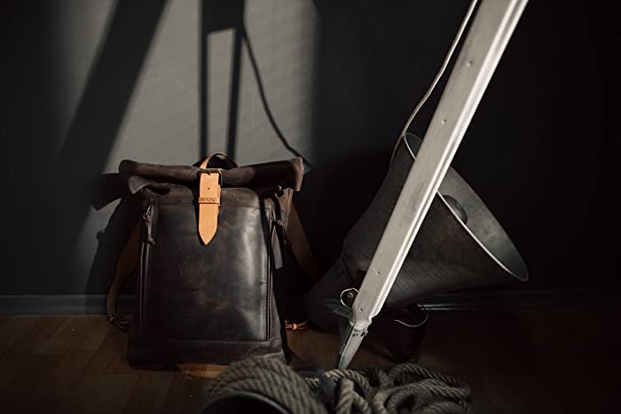 749ee3ec0518 Image Unavailable. Image not available for. Color  Leather backpack Roll  top backpack by Kruk Garage Black leather backpack Mens ...