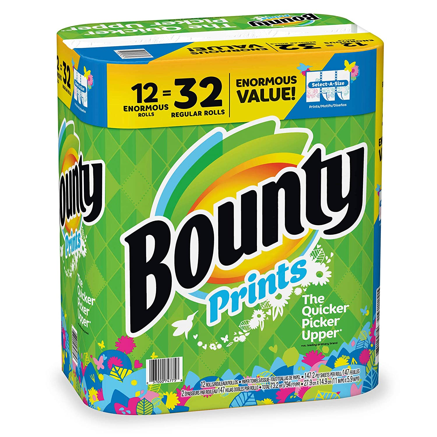 Amazon.com: Bountys Select-A-Size Enormous Roll Paper Towels, 12 pk. - Print: Kitchen & Dining