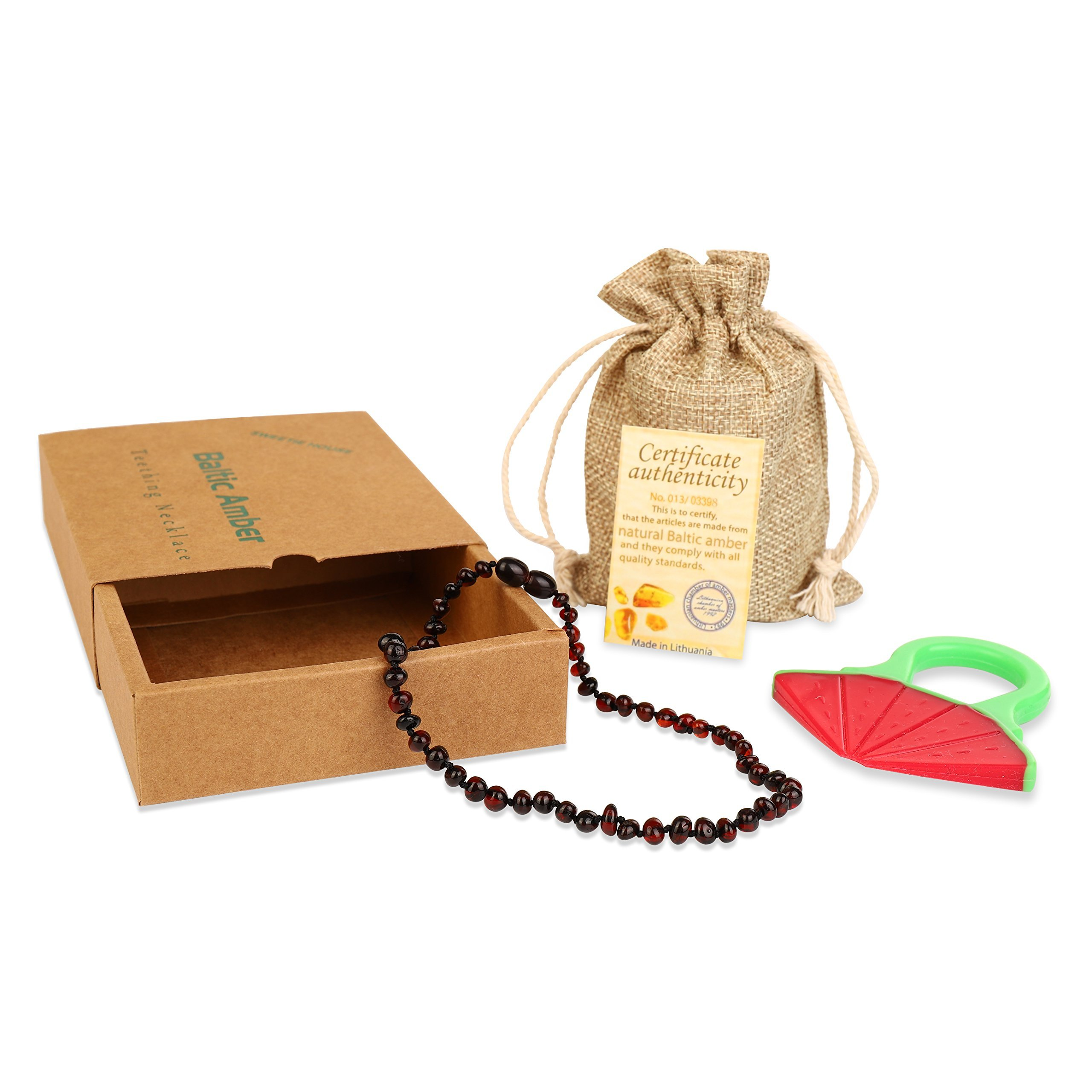 Baby Baltic Amber Teething Necklace Jewelry - (Cherry) Anti-Flammatory, Drooling & Free Teething Toy Pain Reduce - Reduces Tension and Fear, Teething Necklace For 3 to 36 Months Babies,Boys and Girls by Sweetie House (Image #3)