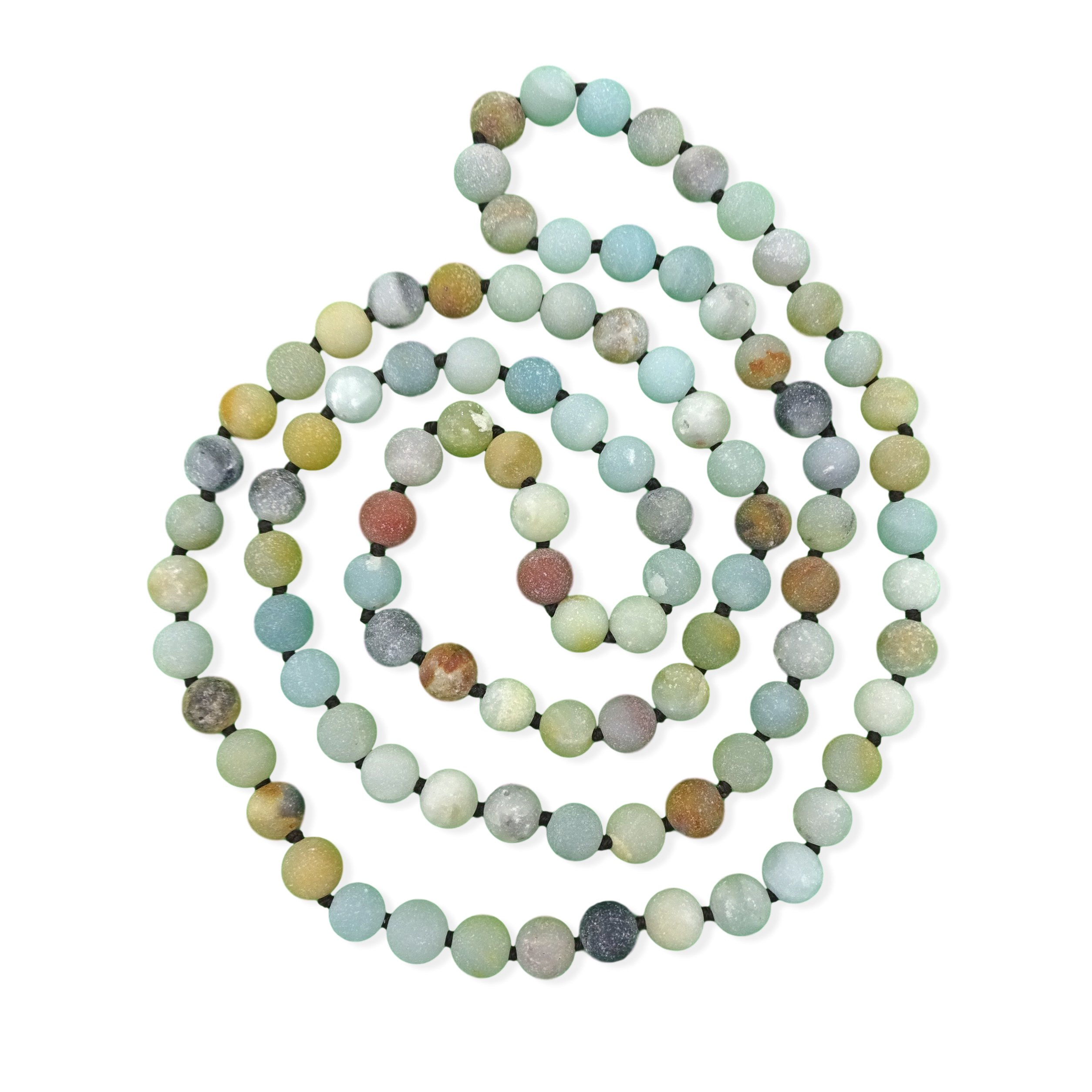 36 Inch 8MM Matte Finish Semi-precious Genuine Amazonite Long Endless Infinity Beaded Strand Necklace.