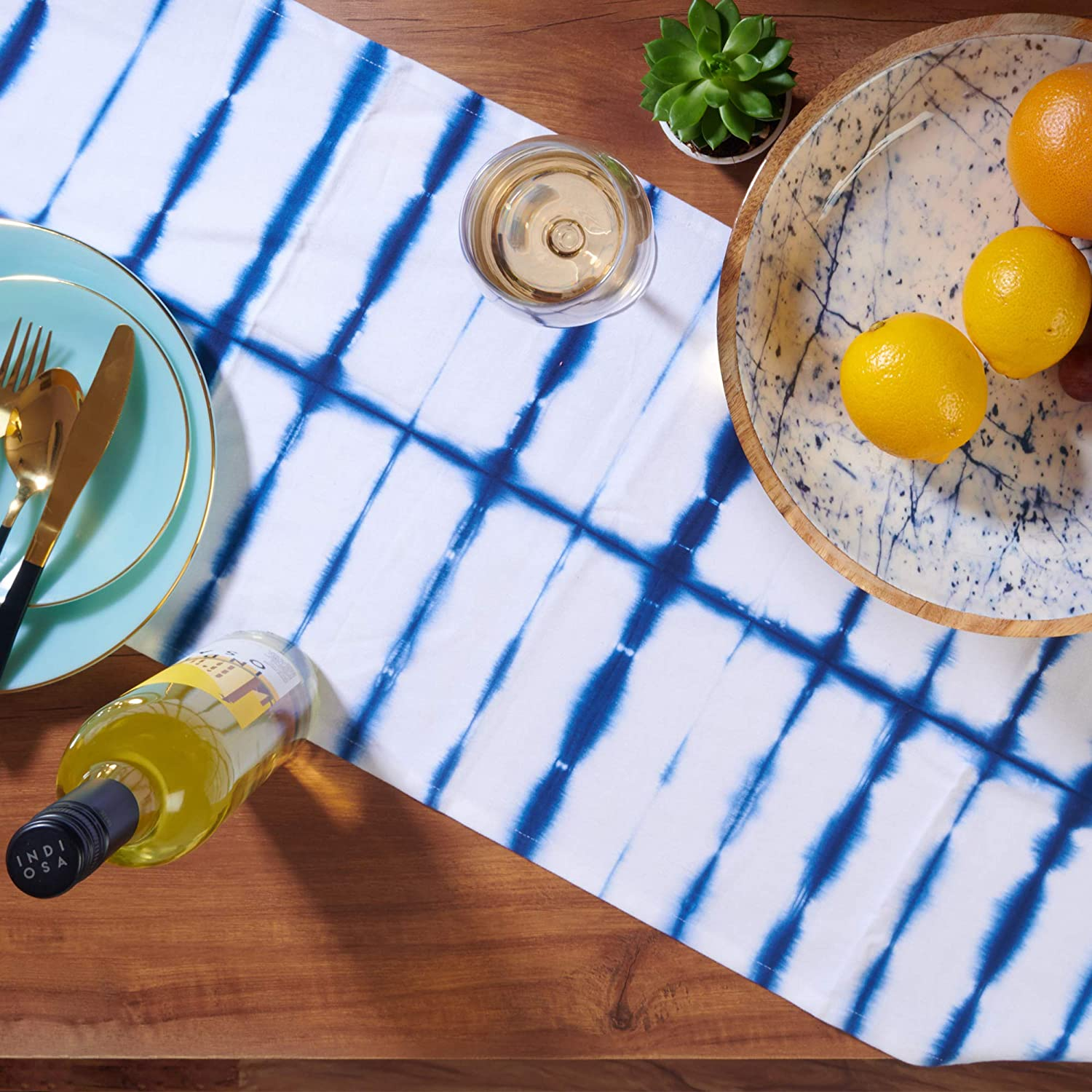 Folkulture Table Runner 14 x 72 inch with Tassels, Boho Table Runner for Farmhouse Style Table Décor or Modern Kitchen Decor, 100% Cotton, Navy Blue Shibori: Home & Kitchen