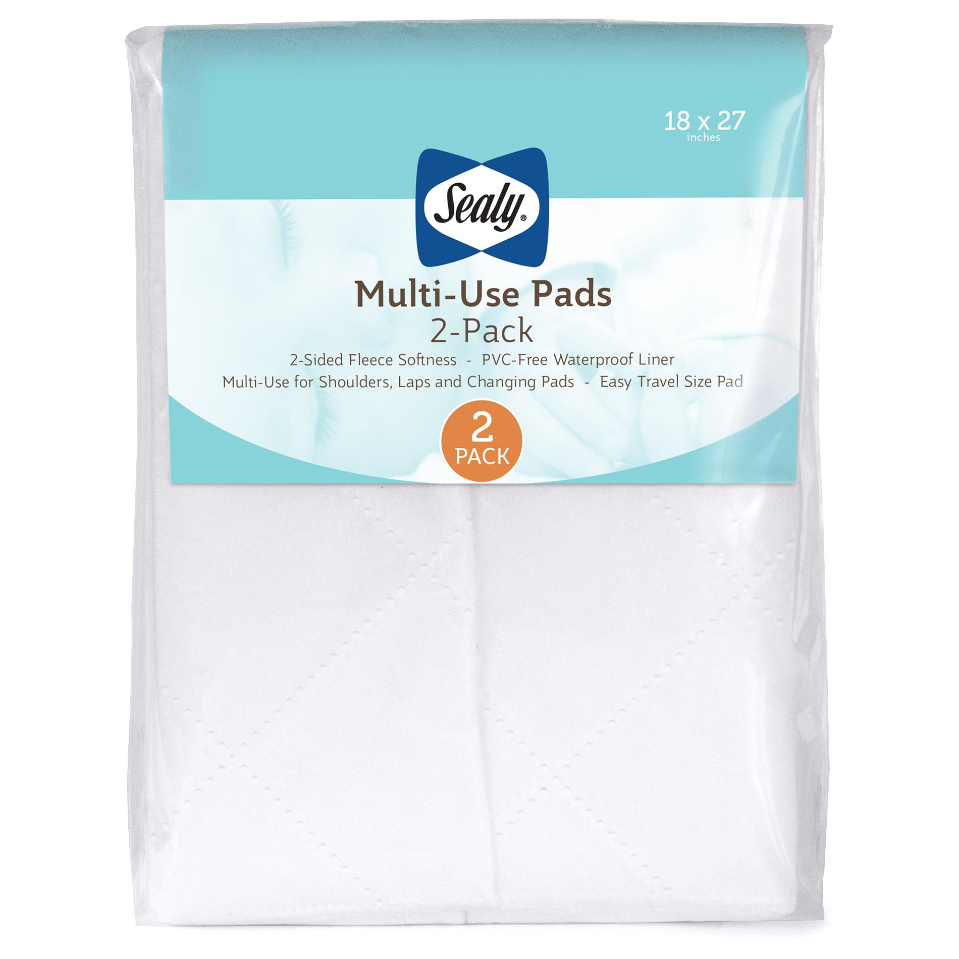 Sealy Multi-Use Waterproof Fleece Liner Pads: 2-Pack, White, 18'' x 27'' by Sealy