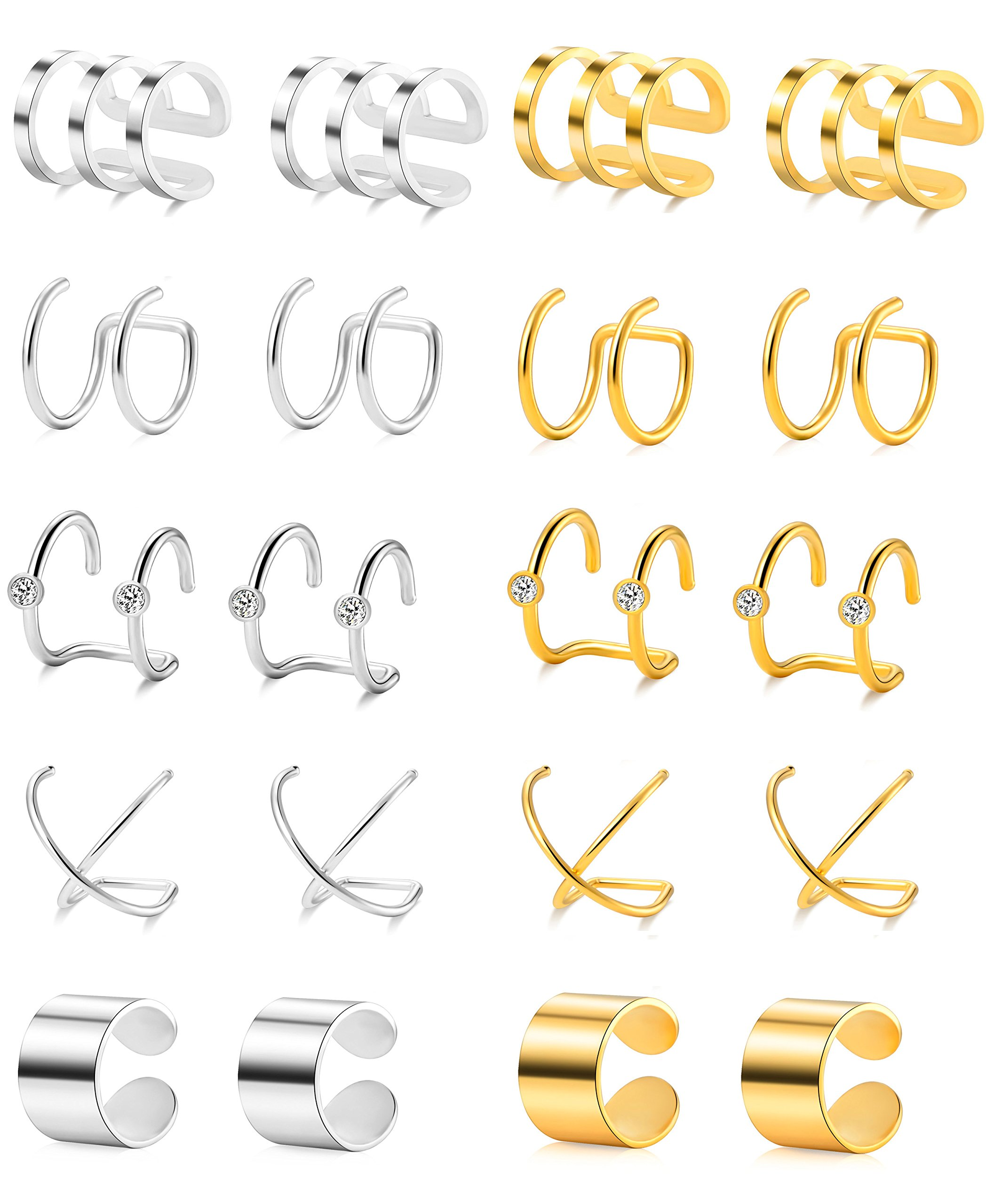 Tornito 10 Pairs Stainless Steel Ear Cuff Helix Cartilage Clip On Wrap Earrings Fake Nose Ring Non-Piercing Adjustable (A0: 10 Pairs) by Tornito