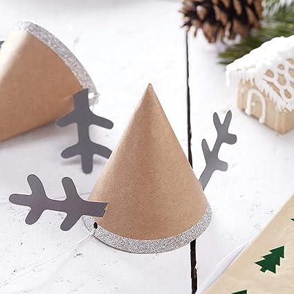ea627401add8 Ginger Ray Reindeer Antler Mini Christmas Party Hats x 6 - Rustic Christmas   Amazon.co.uk  Kitchen   Home
