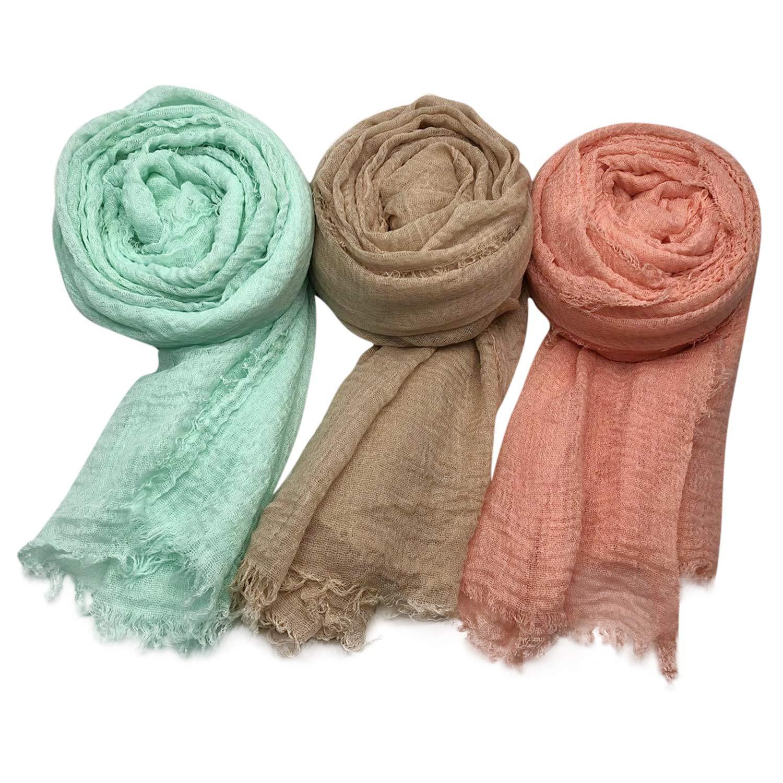 MANSHU 3PCS Women Soft Cotton Hemp Scarf Shawl Long Scarves, Big Head Scarves, Scarf and Wrap by MANSHU