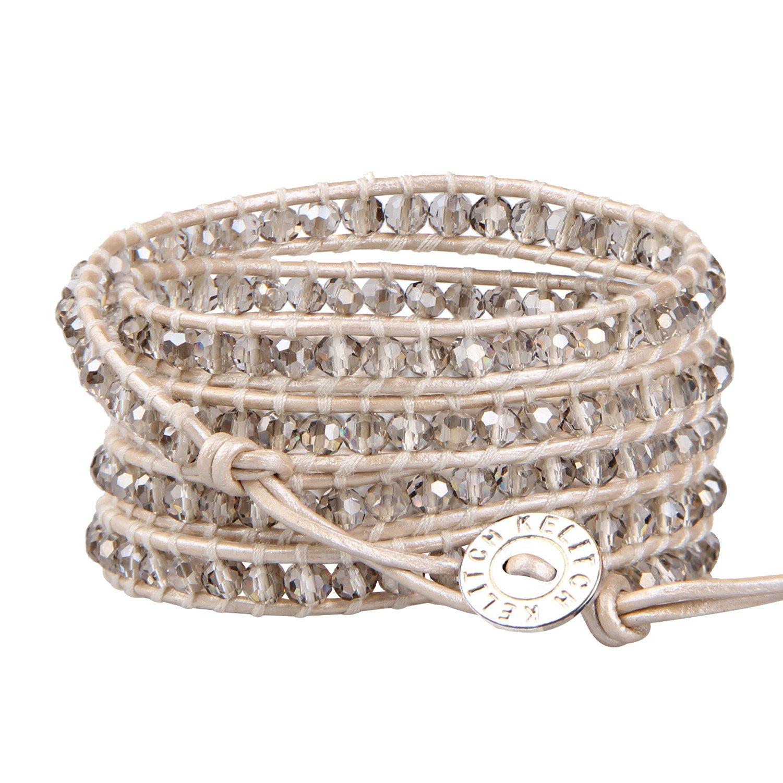 KELITCH Fashion Gray Crystal Beaded 5 Wrap Bracelet On Leather Chain New Jewelry by KELITCH