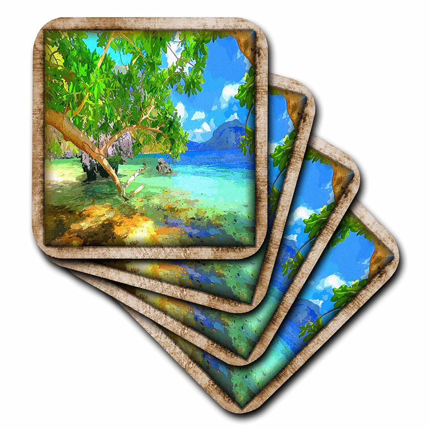 3dRose cst/_41434/_2 Tropical Cartoon Soft Coasters Set of 8