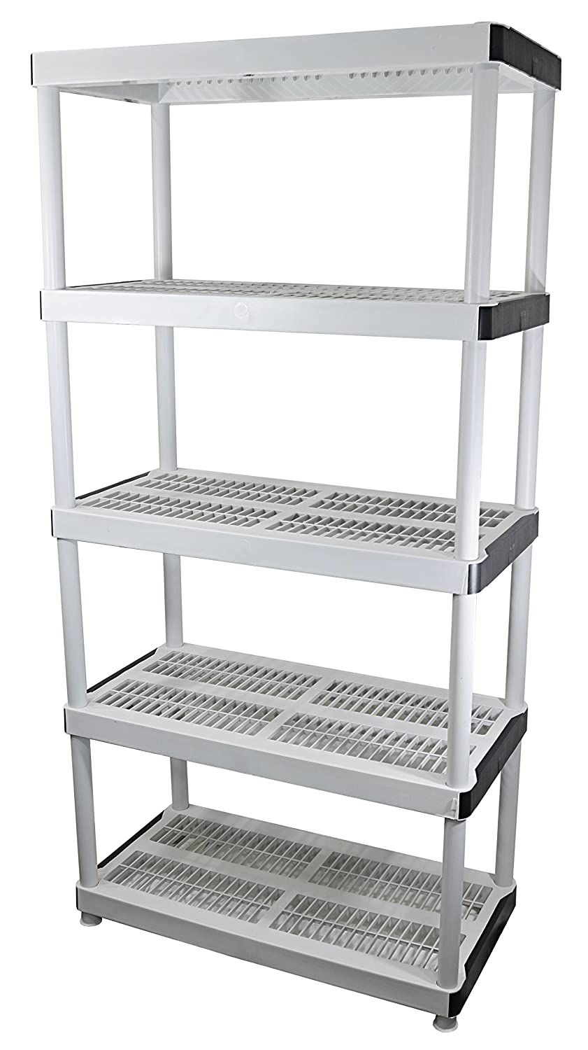 "HDX 36"" x 72"" 5-Tiered Ventilated Plastic Storage Shelving Unit w/ Raised Feet and Tool-Free Assembly 127932"