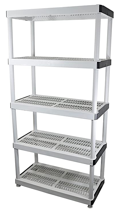 Pleasing Hdx 36 X 72 5 Tiered Ventilated Plastic Storage Shelving Unit W Raised Feet And Tool Free Assembly Interior Design Ideas Lukepblogthenellocom