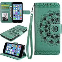 iPhone SE / 5 5S Case, Bear Village® Leather Wallet Cover, Anti-Scratch Embossing PU Case with Magnetic Closure and Card Slots for Apple iPhone SE/iPhone 5 5S (#4 Green)