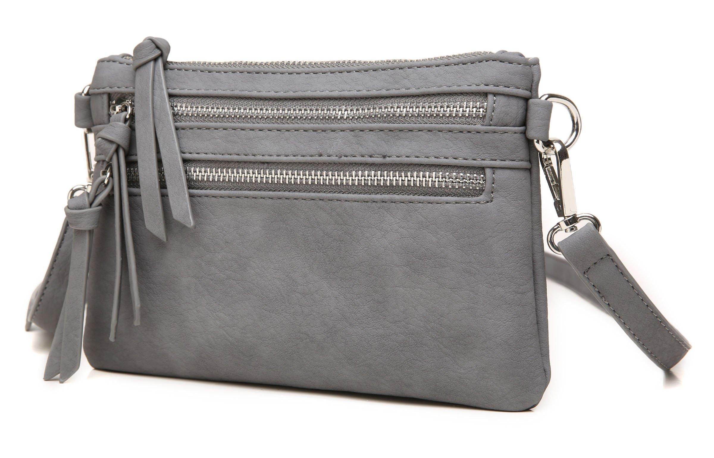 Aitbags Multi-Zipper Pocket Crossbody Handbag Lightweight Purse Functional Clutch with Wristlet by Aitbags (Image #2)