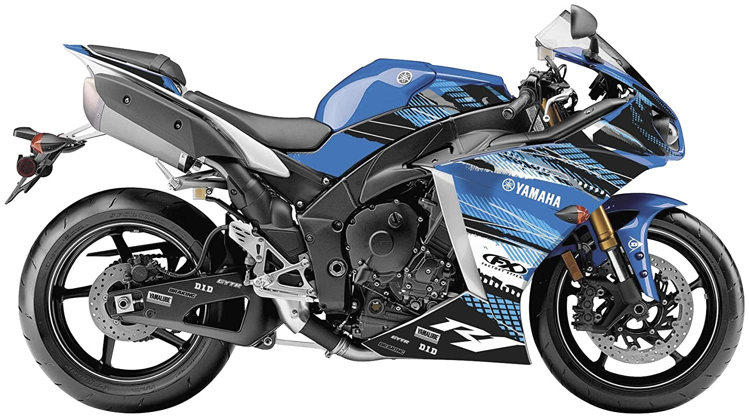 Factory Effex 15-15222-B EV-R Series OEM Blue Color Complete Street Bike Graphic Kit for Yamaha YZF-R1