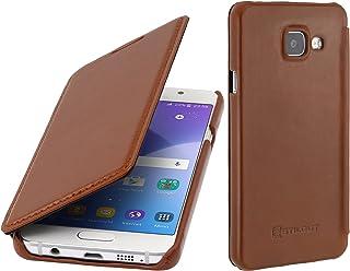 StilGut Book Type Case Senza Clip, Custodia in Vera Pelle per Samsung Galaxy A3 (2016), Cognac