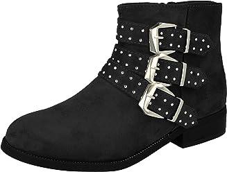 b98ff1b7821 Shoes By Emma Ladies Faux Leather Suede Fashion Triple Strap Stud Buckle  Zip Flat Biker Ankle