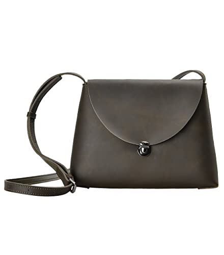 cdc1a2a79c ZLYC Women Minimalist Style Handmade Leather Mini Satchel Shoulder Cross  Body Bag (Dark Olivedrab)