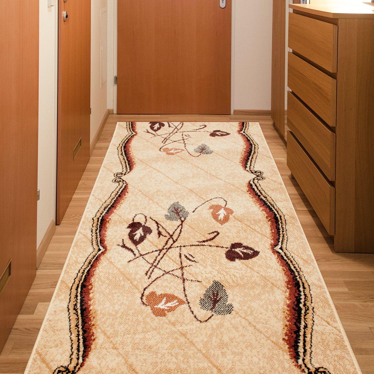 Tapiso Atlas Läufer Flur Kurzflor Teppich Küche Wohnzimmer Streifen Linien Abstrakt Floral Muster Braun Beige Creme Meliert ÖKOTEX 120 x 300 cm