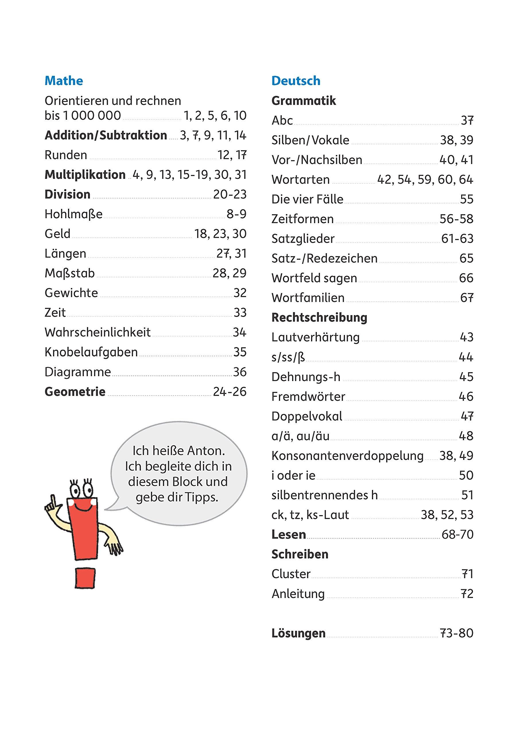 Quer durch die 4. Klasse, Mathe und Deutsch - Übungsblock (Lernspaß ...
