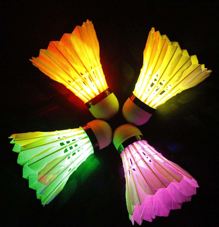 1-4x Pack LED Luminous Badminton Night Glow in The Dark Lighting Shuttlecock Set