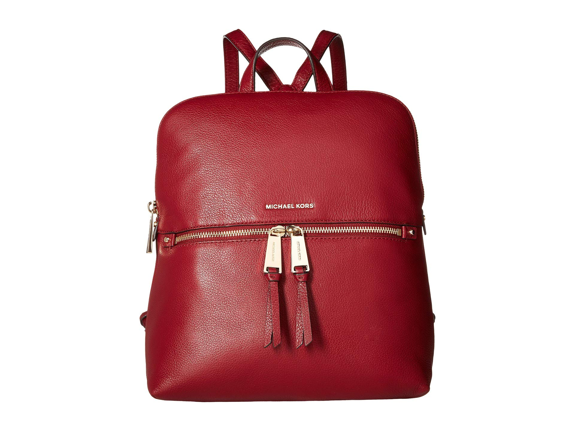 Michael Kors Rhea Medium Slim Leather Backpack MAROON by Michael Kors