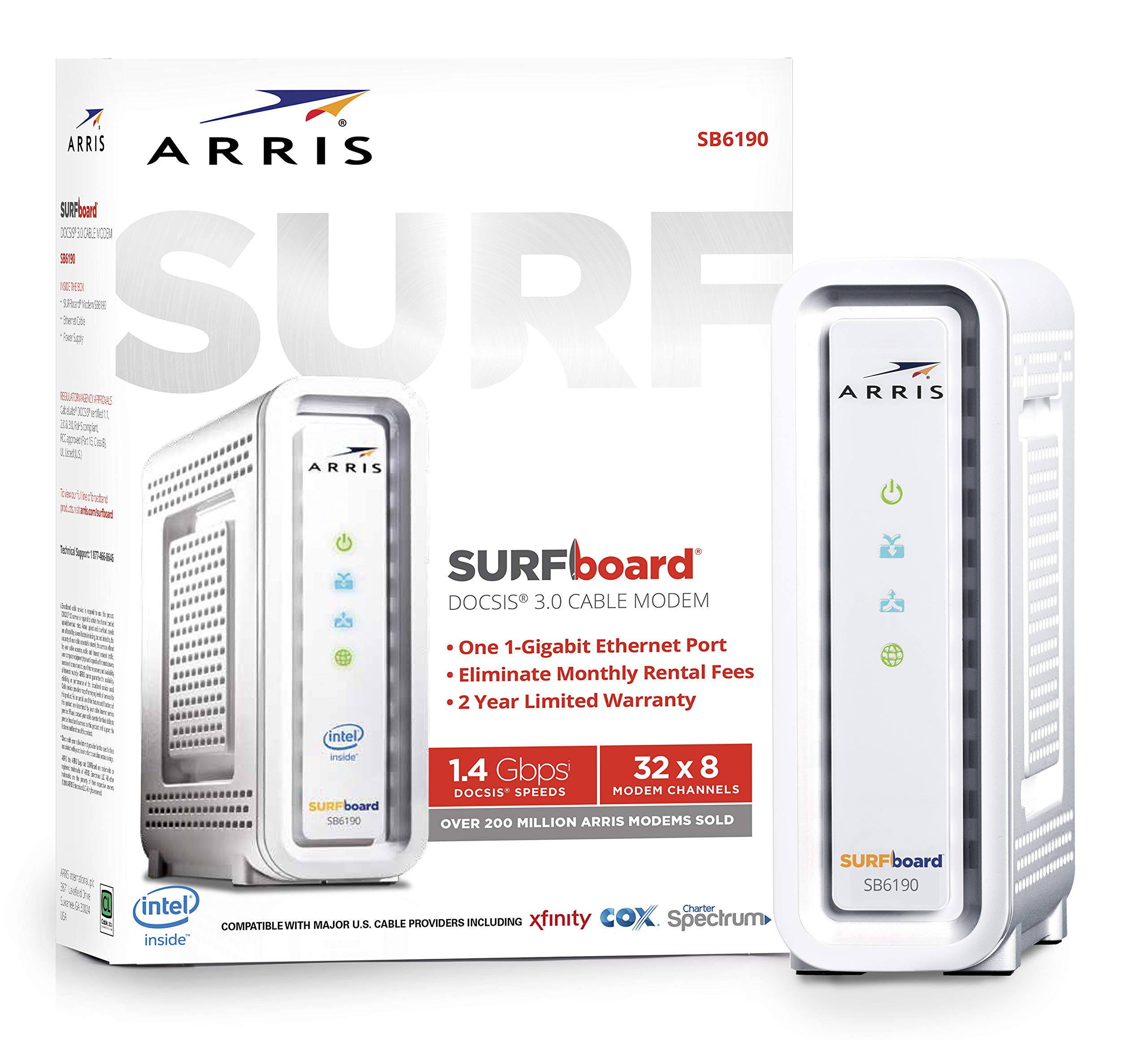 ARRIS SURFboard (32x8) Docsis 3.0 Cable Modem, Certified for Xfinity, Spectrum, Cox, Cablevision & More (SB6190 White) by ARRIS