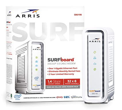 ARRIS SURFboard (32x8) DOCSIS 3 0 Cable Modem, 1 4 Gbps Max Speed,  Certified for Comcast Xfinity, Spectrum, Cox, Cablevision & more (SB6190  White)