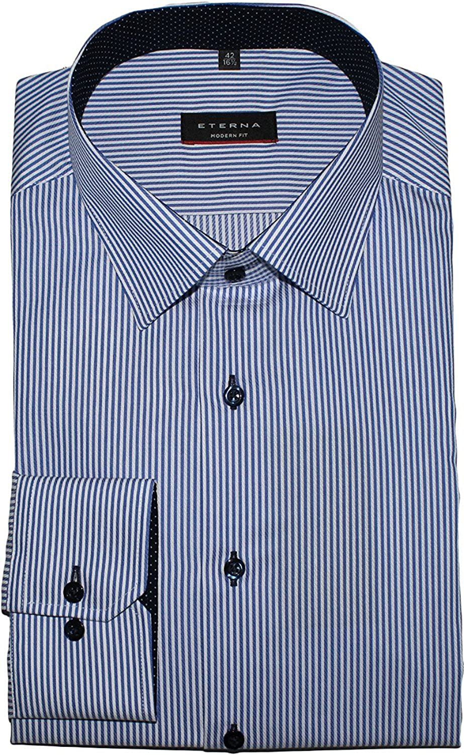 TALLA W45, Longitud manga larga. Eterna Long Sleeve Shirt Modern FIT Twill Striped