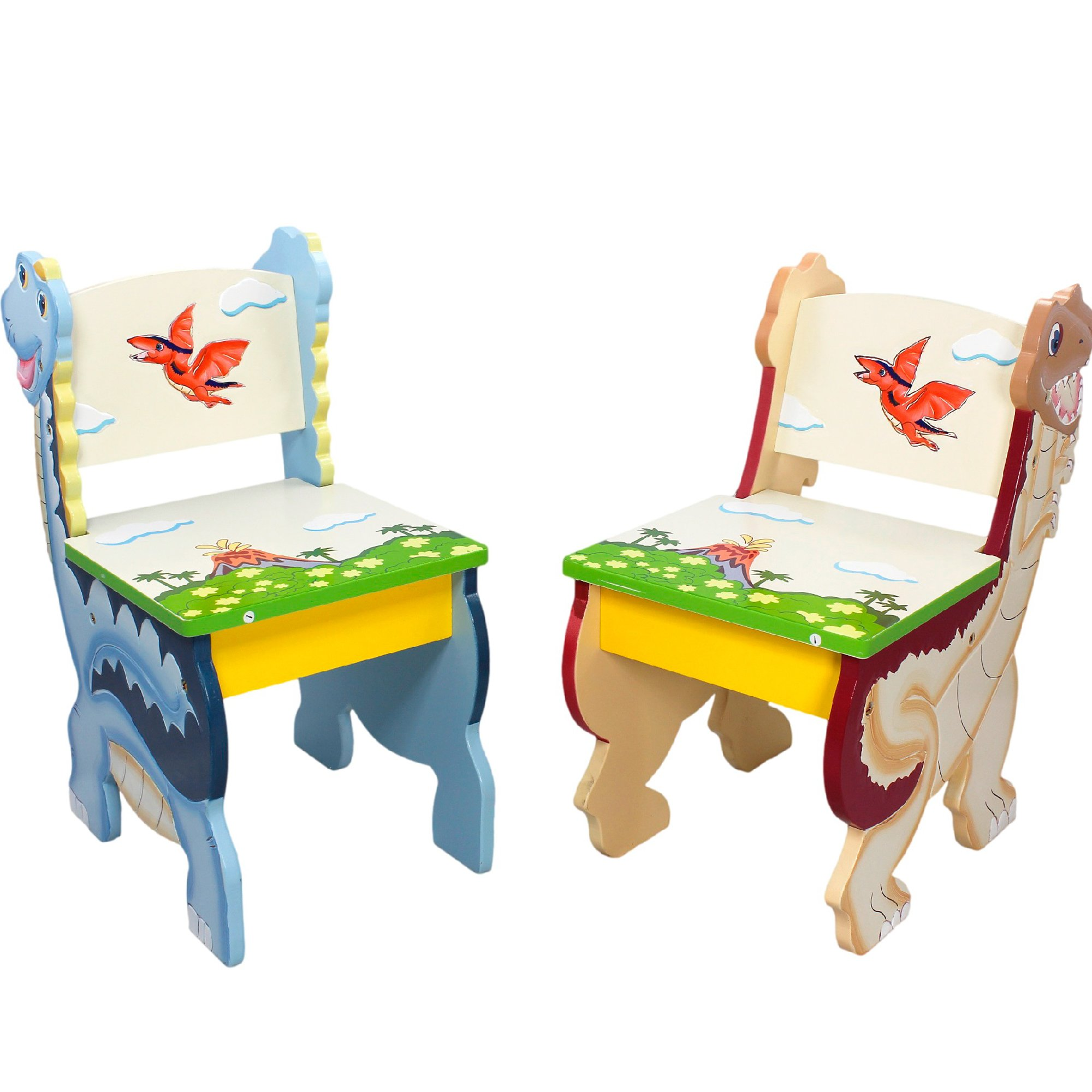 Teamson Design Corp Fantasy Fields - Dinosaur Kingdom Thematic Kids Wooden 2 Chairs Set | Imagination Inspiring Hand Crafted & Hand Painted Details Non-Toxic, Lead Free Water-based Paint