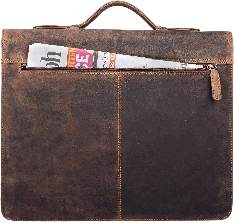 Cognac STILORD Aurelio Porte-Documents en Cuir avec Poign/ée Pochette de Documents DIN A4 pour Appareils 13,3 Pouces Vintage Business Sac daffaires Couleur:Kara