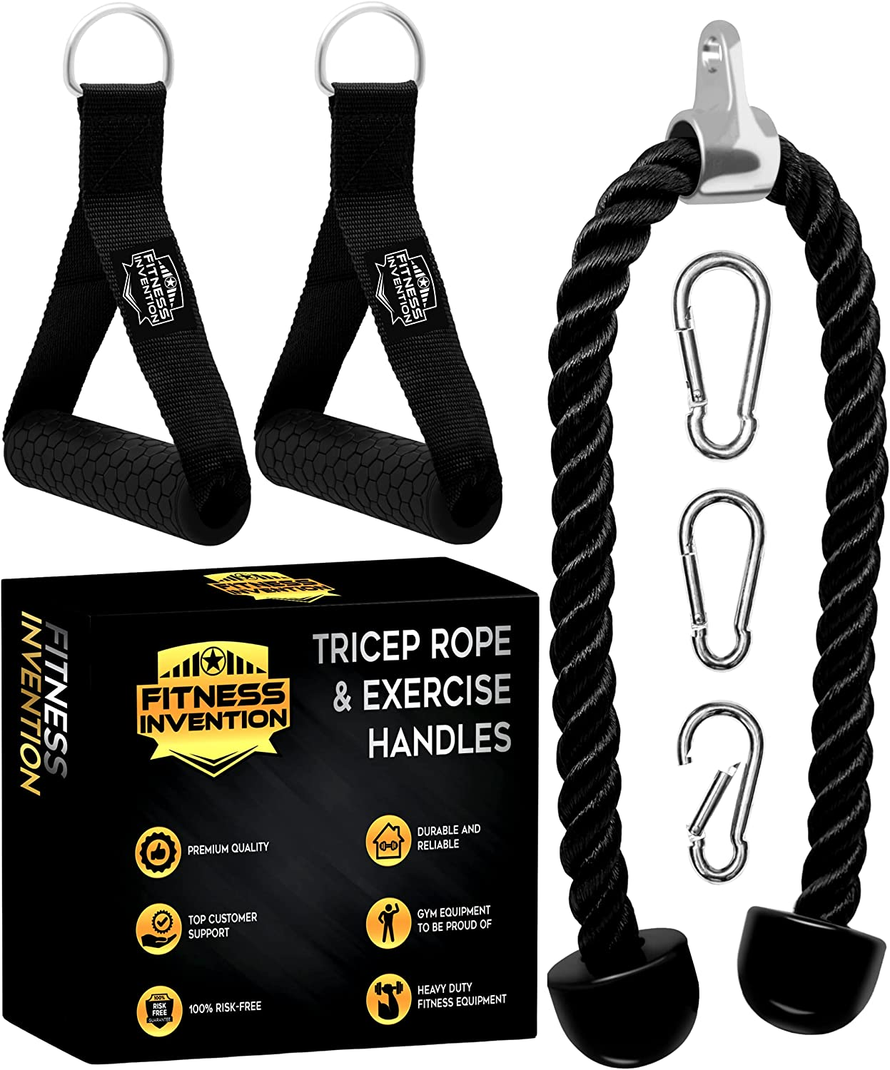 allbingo Pro Tricep Rope Cable Machine Handles Ankle Strap with Carabiners Compatible for Home Gym Exercise Pulldown Bowflex Cable Machine System