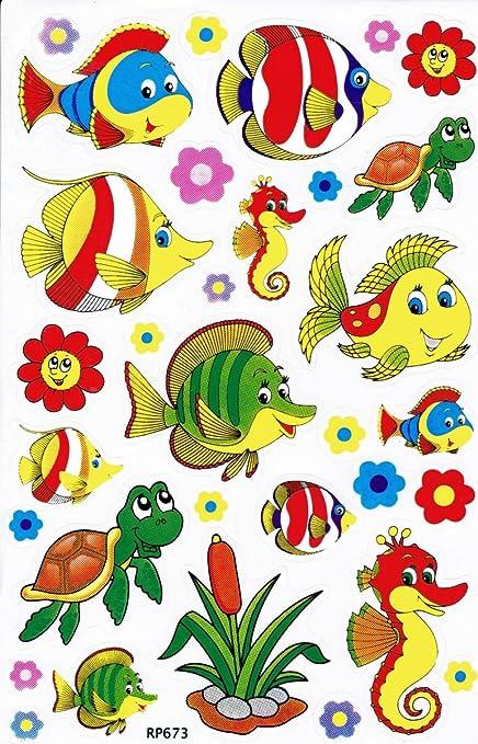 Fische Seepferdchen Schildkröte Tiere Aufkleber 32 Teilig 1