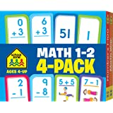 School Zone - Math 1-2 Flash Card 4-Pack - Ages 4+, Addition, Subtraction, Numbers 0-100, Math War Game, and More (Flash Card