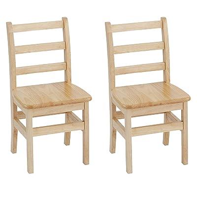 "ECR4Kids 14"" Hardwood 3-Rung Ladder-back Chair, Natural (Pack of 2): Industrial & Scientific"