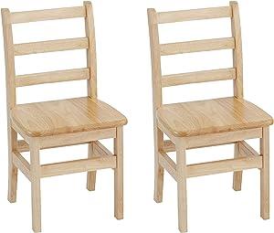 "ECR4Kids 14"" Hardwood 3-Rung Ladderback Chair, Natural (2-Pack)"
