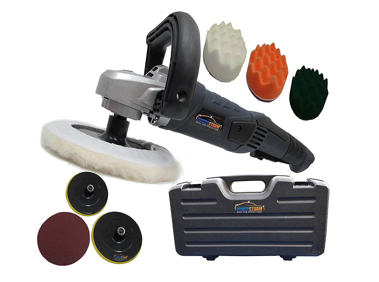 PowerStorm® Car Polisher Sander Buffer With Carry Case Plus 3 Wavy Sponges and 4 Car Polisher Heads PowerStorm® 129659