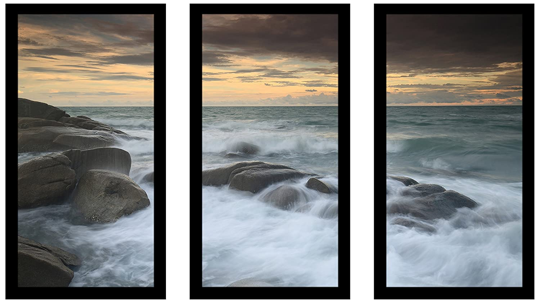 Rayong Picture Perfect International White Rock Beach Thailand Framed Plexiglass Art Set of 3 Wall-Decor 13.5 W x 25.5 H x 1 D