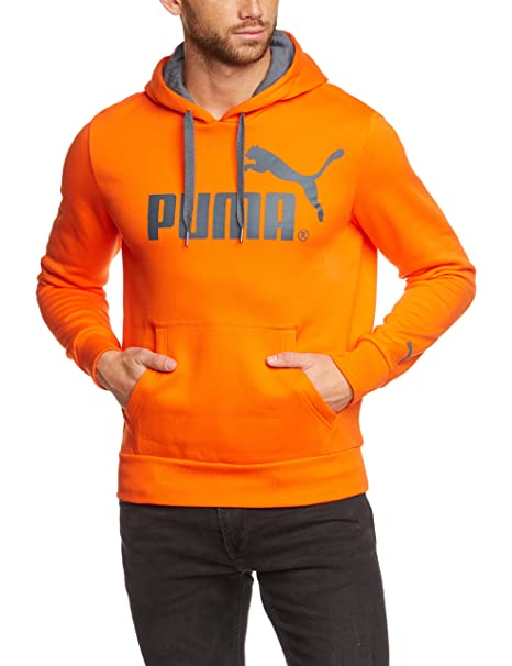 Puma Sweatshirt Logo Hooded Sweat, Fleece - Sudadera con capucha para hombre, color naranja