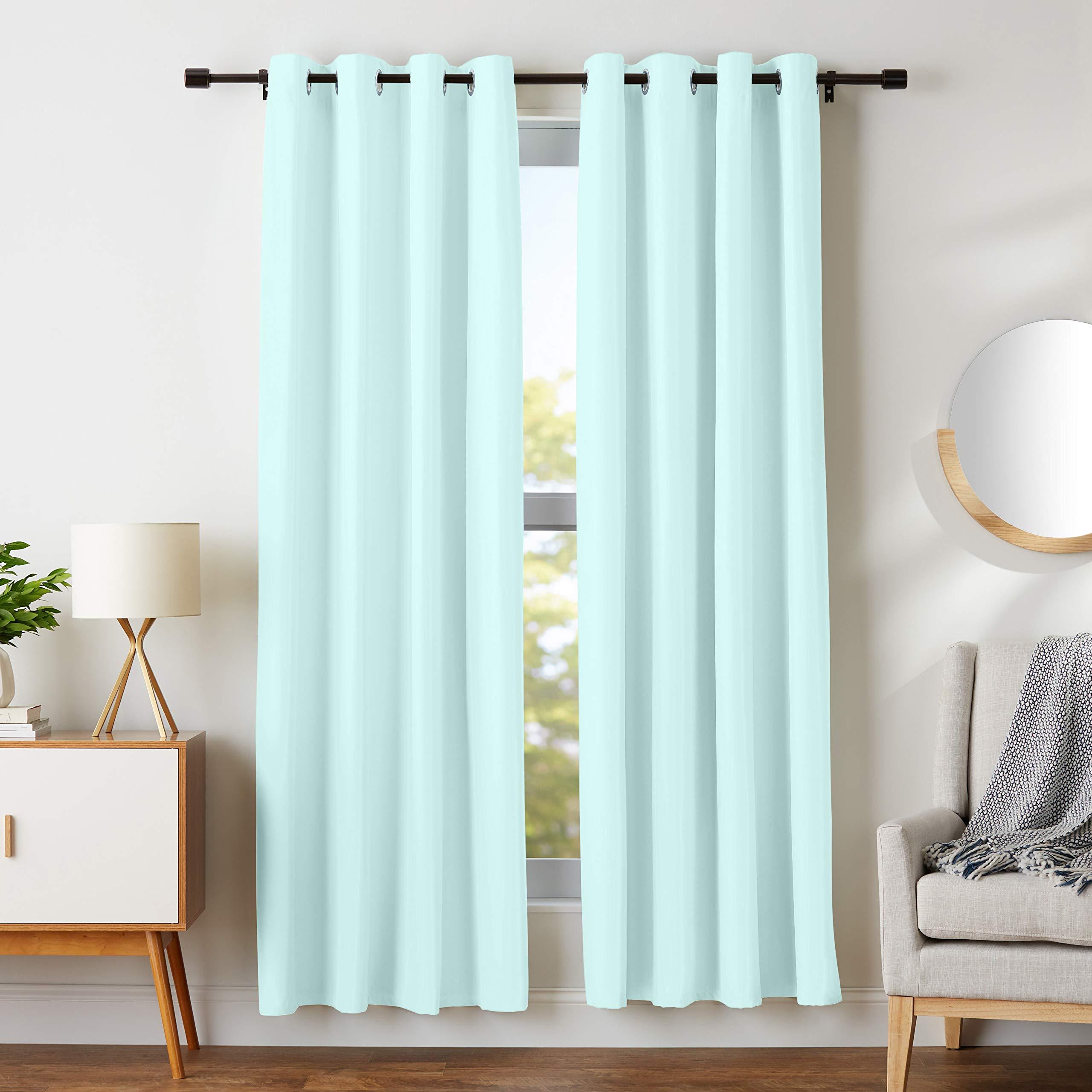 AmazonBasics Room Darkening Blackout Window Curtains with Grommets - 42 x 84, Seafoam Green, 2 Panels