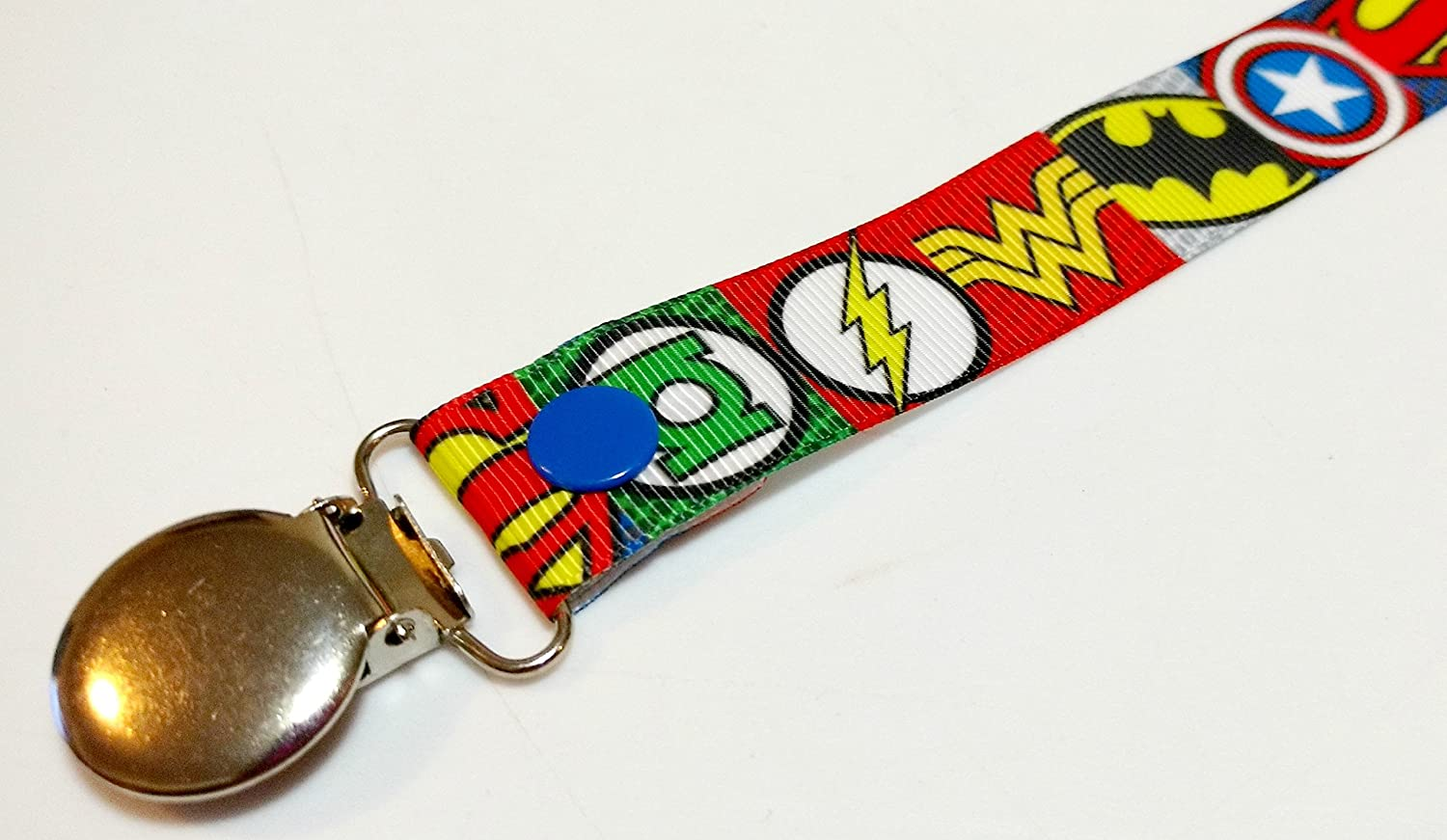 DC Super Heroes pacifier clip binky soother strap