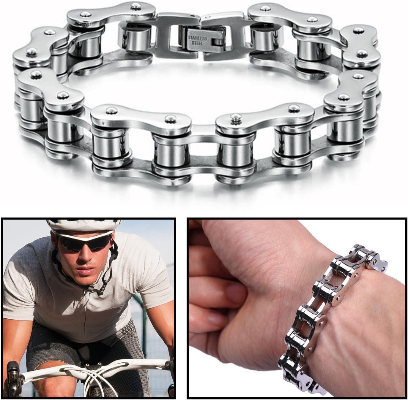 Men/'s Moto Chaîne Bracelet en acier inoxydable lourd Vélo Noir//Argent 18 mm