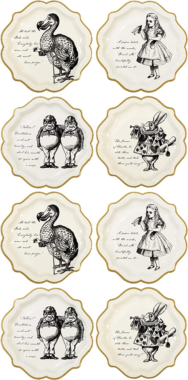 Amazon Com Talking Tables Alice In Wonderland Party Supplies Paper Plates Great For Mad Hatter Tea Birthday And Baby Shower 12 Count Kitchen Dining