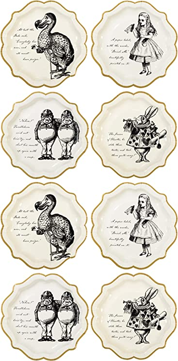 Talking Tables Truly Alice  dinner plates; Alice In Wonderland tea party tableware; Mad Hatter Tea Party plates; we/'re all mad here plates