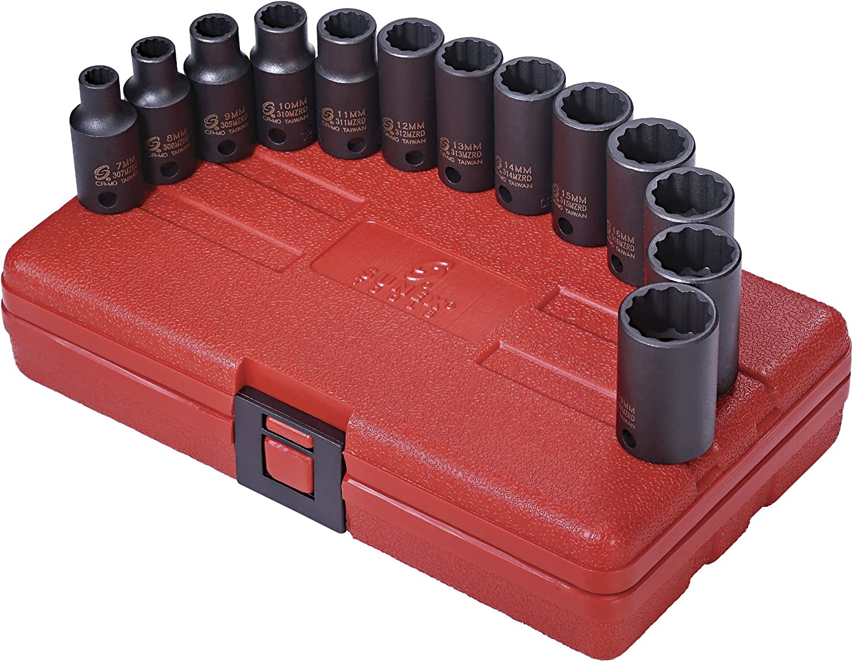 "3//8/"" Drive 12 Point Metric Semi-Deep Impact Socket Set Sunex Tools 3338 13 Pc"