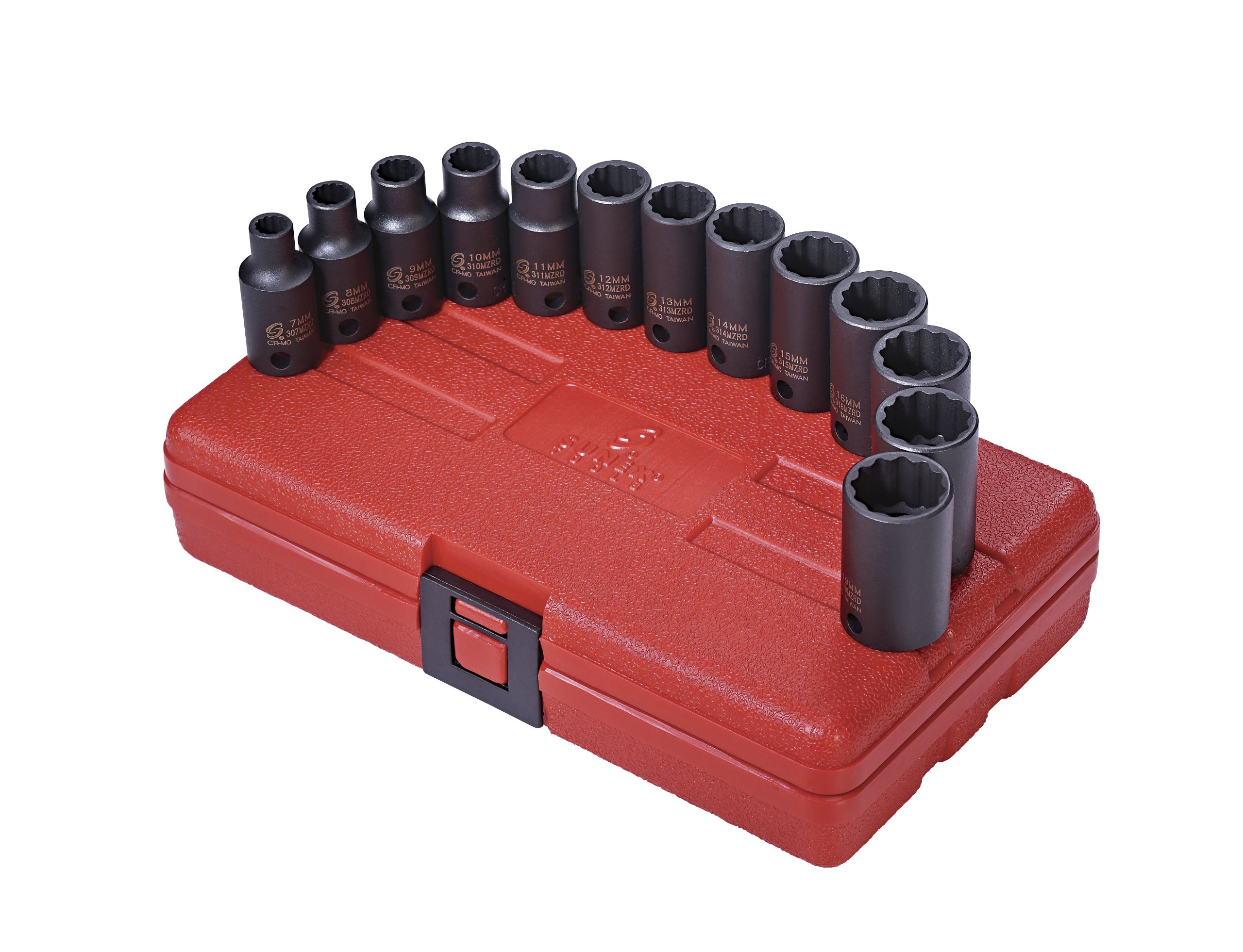 Sunex 3338 3/8-Inch Drive 12 Point Metric Semi-Deep Impact Socket Set, 13-Piece