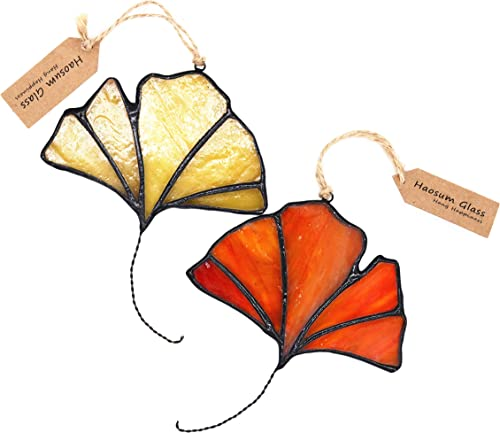 HAOSUM Stained Glass Window Hangings Ginkgo Tree Leaf Fall Autumn Decoration 2PCS 4×3 Inche