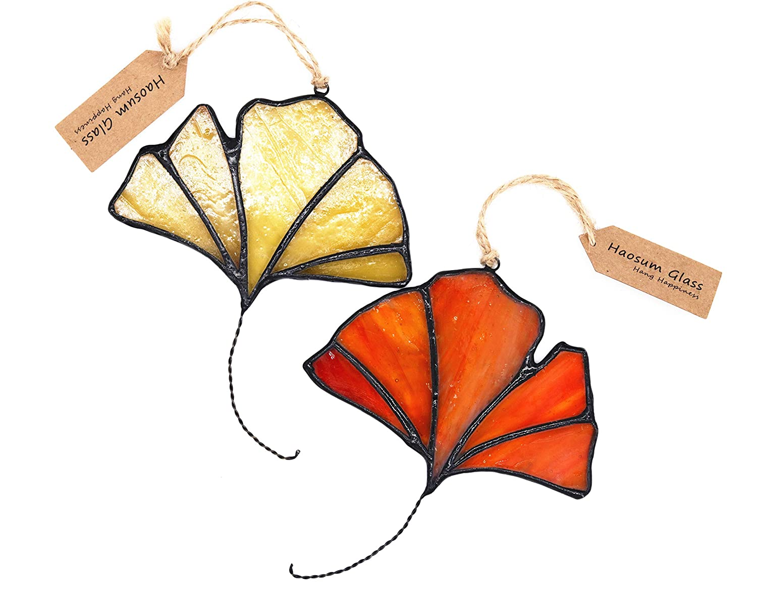 HAOSUM Stained Glass Handmade Window Hanging Ginkgo Tree Leaf Artistic Glass Suncatcher 2PCS 4x3 Inches Haosum Art Glass Factory