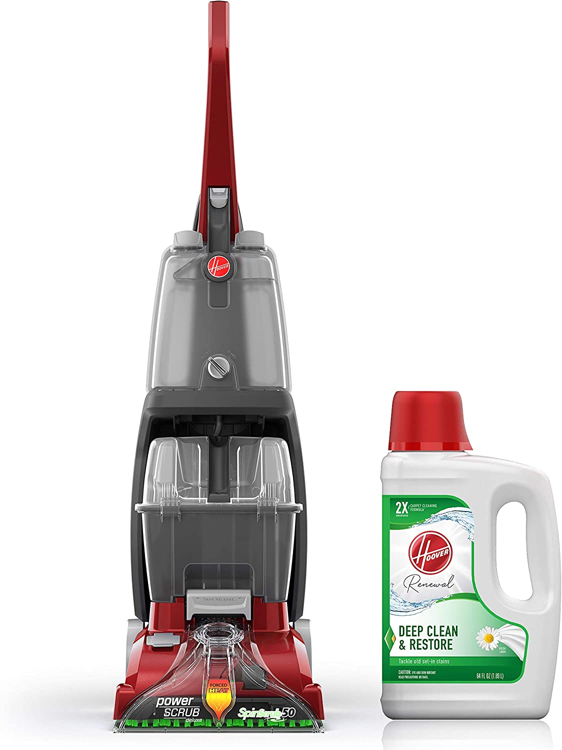 Hoover Power Scrub Deluxe Carpet Washer with Renewal Carpet Cleaning Solution (64 oz), FH50150, AH30924