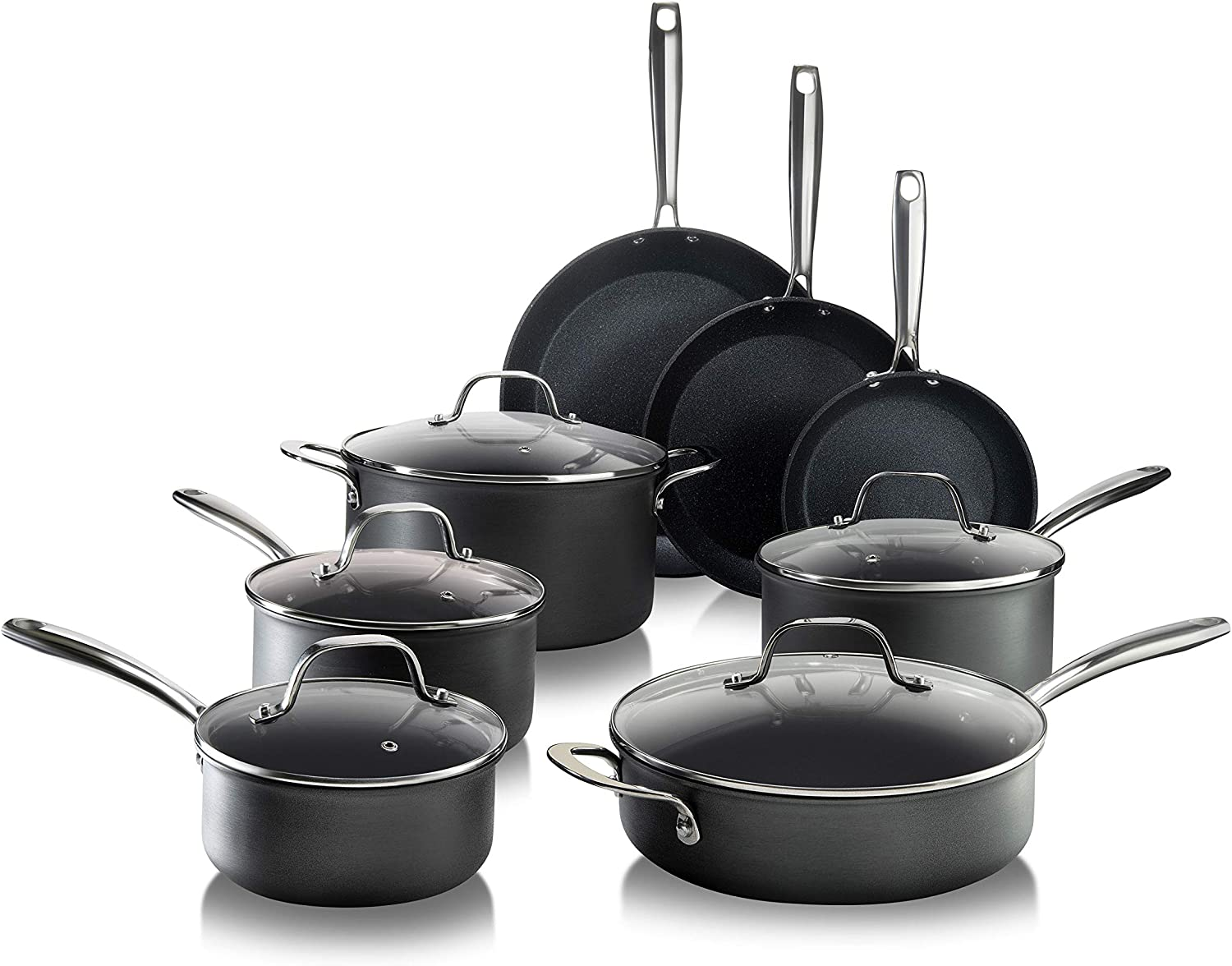 Granitestone PRO – Hard Anodized Pots and Pans 13 Piece Premium Chef's Cookware Set with Ultimate Nonstick Diamond & Mineral Coating, Oven & Dishwasher Safe, Black