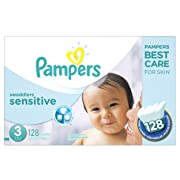 Diapers Size 3, 128 Count - Pampers Swaddlers Sensitive Baby Disposable Diapers, SUPER ECONOMY